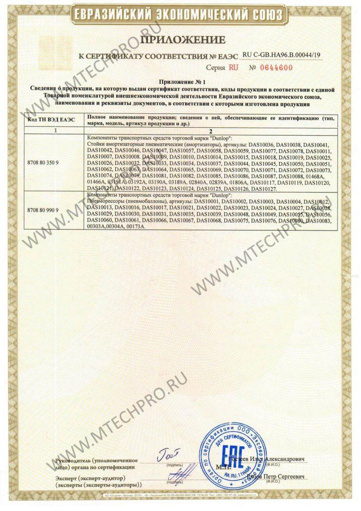Сертификат соответствия Dunlop